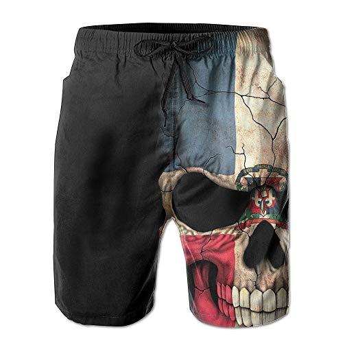 maichengxuan Beach Shorts Men's Dominican Flag Skull Summer Quick Dry Beach Shorts