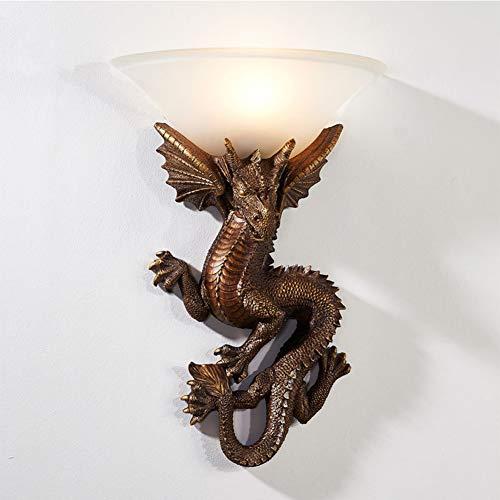 Drache Wandleuchte Schlafzimmerlampe Wohnzimmerlampe Esszimmerlampe Wandlampe Persönlichkeit Kreative Küchenlampe Hochwertige Loft Bar Wandbeleuchtung Retro-Design L20cm Glas Resin