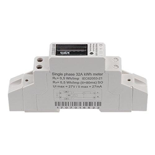 A KWH Hutschiene  220V 32 Wechselstromzähler Stromzähler 1 Phase DIN Wattmeter 5