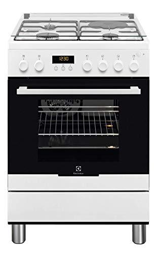 Cuisiniere mixte Electrolux EKM66780OW - Blanc - Classe énergétique A / Plaque Gaz + électrique / Four Electrique Multifonction - Pyrolyse - Porte tempérée