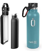 PracticDomus Runbott Botella Agua Térmica 600 ml en Acero Inoxidable sin BPA con Recubrimiento Interno Cerámico y Doble Capa con Vacío. Sin Sabor Metálico. Incluye Mosquetón. Color