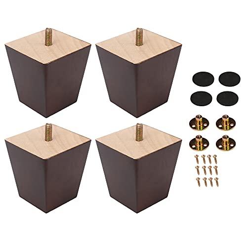 Mxfans 4 patas de madera de nogal de 7,5 x 7 x 5 cm para mueble
