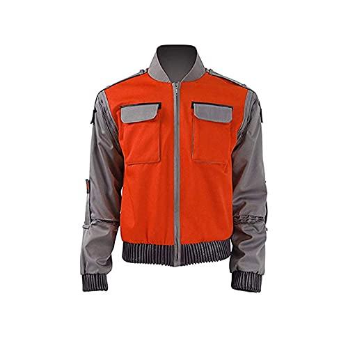 CHANGL Film Cosplay Jacket Jr Marlene Seamus Marty McFly Retro Orange Outerwear Mens Halloween Carnival Costume Bomber Jacket