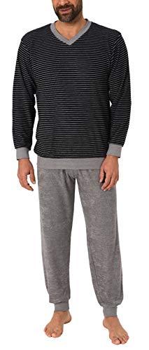 RELAX by Normann Lässiger Herren Frottee Pyjama Langarm mit Bündchen in Ringel - Optik - 291 101 13 784, Farbe:schwarz, Größe2:52