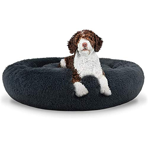 Round Plush Dog Bed Puppy Sofa, Cat Cushion Bed Extra Comfort Sleeping Bag Indoor Durable Warm Nest Bed Improving Sleep Pet Cabin - Easy Wash and Care (Various Sizes) Dark gray-40cm(15.7 in)