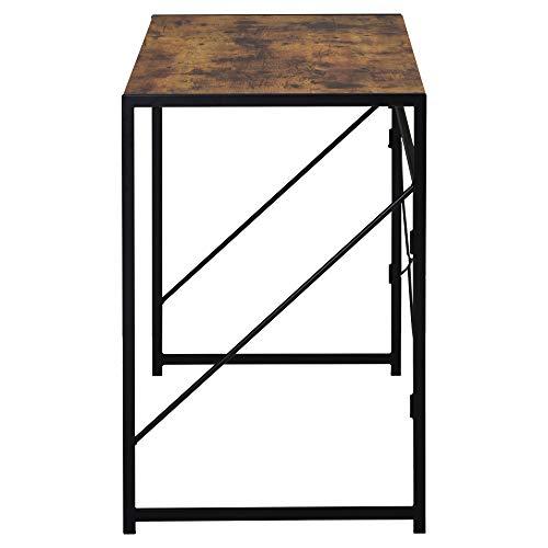 zcyg Mesa de oficina plegable para ordenador portátil, escritorio de estudio, escritorio simple para el hogar, oficina, estilo industrial, 100 x 50 x 75 cm, color marrón rústico
