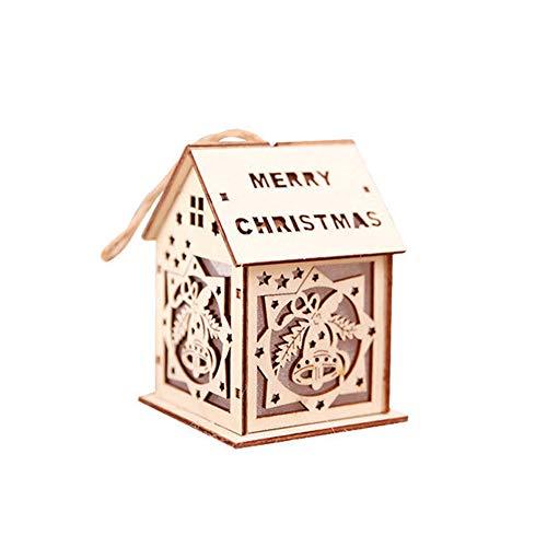 Homeofying Décoration de Noël à LED en forme de chalet avec Père Noël, cloche et renne, Bois dense, Bell, Taille M