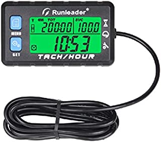 Runleader Hour Meter Tachometer, Maintenance Reminder, Alert RPM Reminder, Initial hours Settable, Battery replaceable, Use for Lawn Mower Generator Marine ATV and Gas Powered Equipment (HM058B-BU)