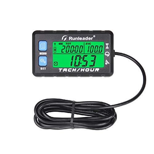 Runleader-Betriebsstundenzähler-Drehzahlmesser, Wartungserinnerung, Anfangsstunden einstellbar, Batterie austauschbar, Verwendung für Rasenmähergenerator und gasbetriebene Geräte (HM058B-BU)