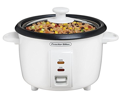 Proctor Silex Rice Cooker & Food Steamer, 8 Cups Cooked (4 Cups Uncooked), White (37534NR)