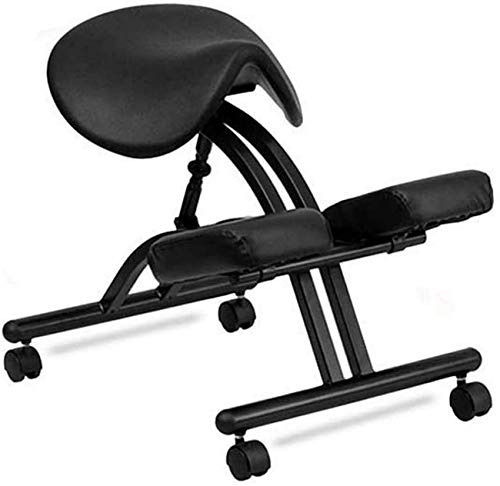 MissZZ Saddle Seat Saddle Ergonomic Kneeling Chair Adjustable Office Chair Corrective Posture Chair Student Spine Correction Chair Orthopedic Work Chair with Pulley,Black