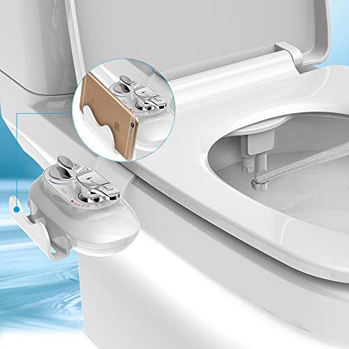 Slim Bidet Attachment with Phone Holder,Atalawa Self Cleaning Dual Nozzle(Frontal Rear/Feminine Wash) Non-Electric Bidet Toilet Attachment with Adjustable Water Pressure Switch Hot Cold