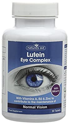Natures Aid Lutein Eye Complex with Bilberry 90 Tablets (For the Maintenance of Normal Vision, with Alpha Lipoic Acid, Zinc, and Vitamins A, B2, C and E, Vegan Society Approved, Made in the UK)