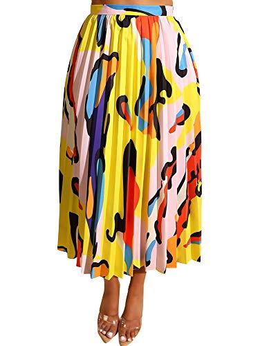 TOB Women's Sexy Summer High Waist Chiffon Printed Colorful Midi Skirt Yellow