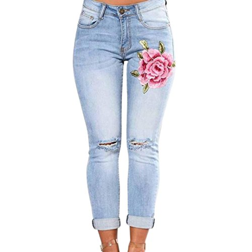 Womens Skinny Jeans Butt Lift Hip Denim Pants Flowers Embroidered Printed Low Rise Jeans (L) Blue