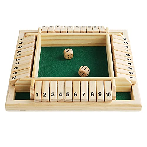 XIAOYANG Wooden Boxed Game Board, Four-Sided Flop Games Digital Wooden Board Game Fun Family Parent-Child Game Party Travel Educational Toys