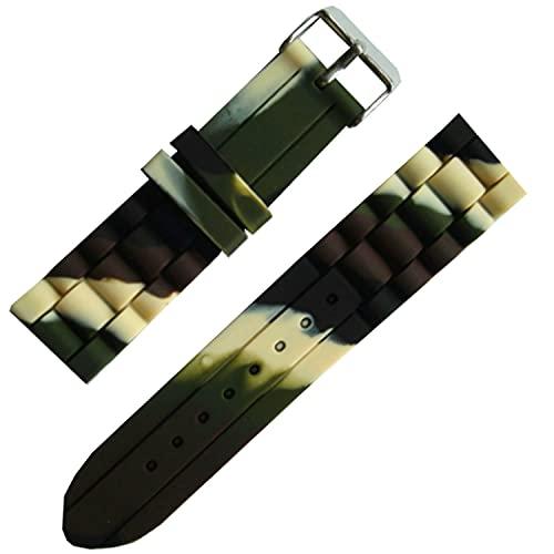 Chtom Transpirable 18 mm 20 mm 22 mm 24 mm cuero negro de chocóleo de cocodrilo y correa negra de la banda de reloj de goma (Color : -, Size : 24mm)