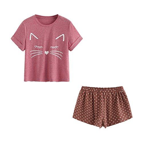 DIDK Damen Schlafanzug Set mit Katzen-Druck Top und Hose Pyjama Set Rosa M