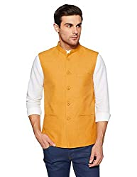 True Blue Mens Mao Collar Slub Nehru Jacket