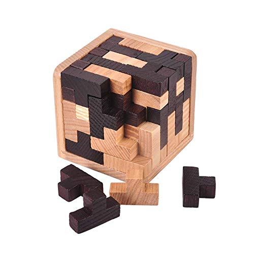 Gobus 54 Piezas en Forma de T Combinaciones de Bloques de construcción 3D Juguete Educativo de Madera Rompecabezas en Blanco y Negro para niños Adultos