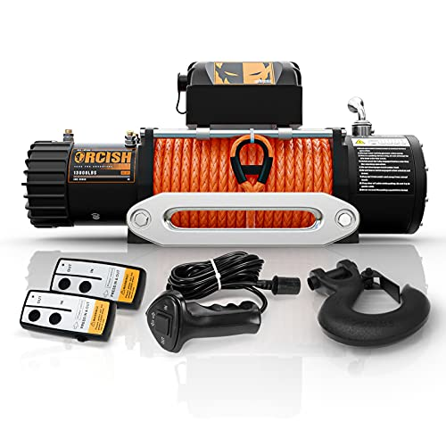 ORCISH 12V 13000-lb Load Capacity Electric Truck Winch Kit Synthetic Rope, Waterproof Off Road Winch for Jeep,Truck,SUV (13000 Synthetic Rope)