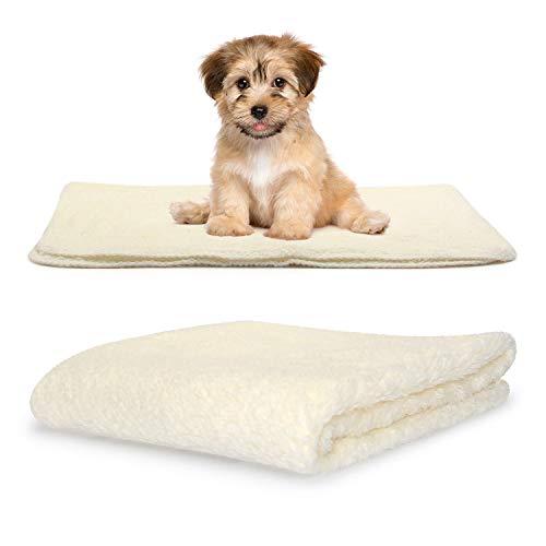 Snug Rug - Coperta morbida e calda in pile Sherpa per cani e gatti – lavabile per divano letto auto (piccola 88 x 60 cm, crema)