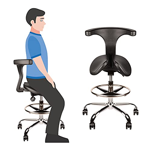 Ergonomic Saddle Stool, Rolling Adjustable Saddle Chair with Back Support for Posture Improvement, Split Seat Style, Alleviate Hip and Back Pain, Salon Massage Dental Lab Home Office Student