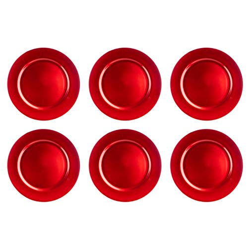 Nataland Set 6 Sottopiatti Rosso Tondi Natalizi, Realizzati in Plastica Rigida Colorata, Perfetti per Decorare la Tua Tavola (6 Pezzi, Rosso 1)