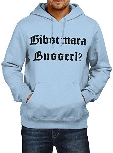 Shirt Happenz Oktoberfest Wiesn Premium Hoody | Dirndl | Gibst Mar a Busserl? | Tracht | Herren | Kapuzenpullover, Farbe:Hellblau;Größe:3XL