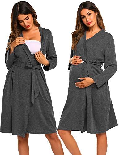 Ekouaer Maternity Robe 3 in 1 Labor Delivery Nursing Gown Hospital Breastfeeding Dress Bathrobes Grey