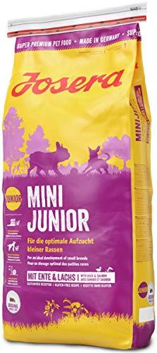 JOSERA MiniJunior, Welpenfutter für kleine Rassen mit Ente und Lachs, für eine optimale Entwicklung, Super Premium Trockenfutter für wachsende Hunde, 1er Pack (1 x 15 kg)