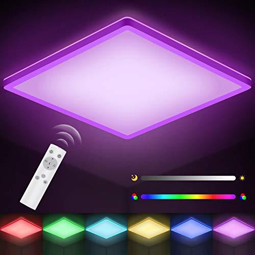 LED Deckenleuchte Dimmbar mit Fernbedienung, STANBOW 18W Deckenlampe Farbwechsel mit 6 Lichtfarben, Flach, Quadratisch, IP44 Wasserdicht für Bad, Schlafzimmer, Wohnzimmer