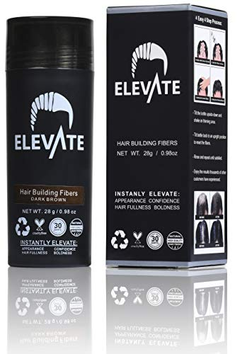 ELEVATE Hair Fibers 100% Natural Keratin Hair Fibers Instantly Thickens Thinning or Balding Hair for Men and Women - Natural Hair Loss Concealer 28g 0.98oz (Dark Brown)