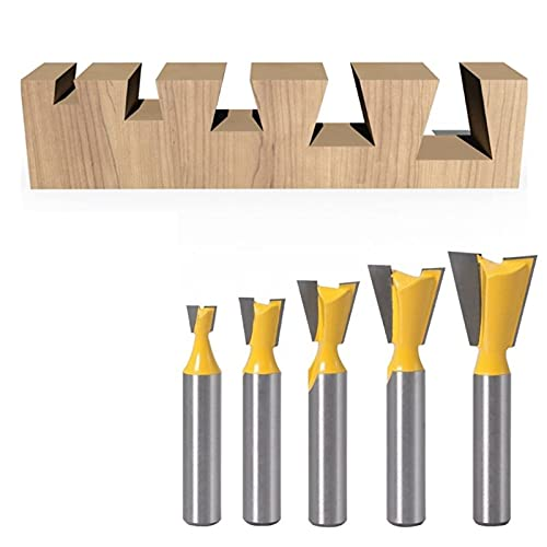MERCB Home Tools 8mm Milling Cutter Bit 1/4 3/8 1/2 5/8 3/4 Dovetail Groove Router Woodwork Tools 449C (Cutting Edge Length : E)