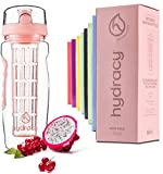 Hydracy Fruit Infuser Water Bottle - 1Litre Sport Bottle - Time Marker & Full Length Infusion Rod +27 Fruit Infused Water Recipes eBook Gift -Your Healthy Hydration Made Easy - Rose Gold