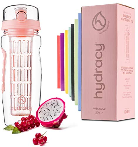 Hydracy Fruit Infuser Water Bottle - 32 oz Sports Bottle - Time Marker & Full Length Infusion Rod + 27 Fruit Infused Water Recipes eBook Gift - Rose Gold