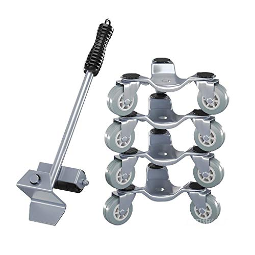 ZXL Furniture Lifter Easy Moving Sliders 5 Packs Mover Tool Set Heavy Duty Furniture Roller Move Up to 150 KG/330 LBS Suitable for Sofas, Couches and Refrigerators(Silver)
