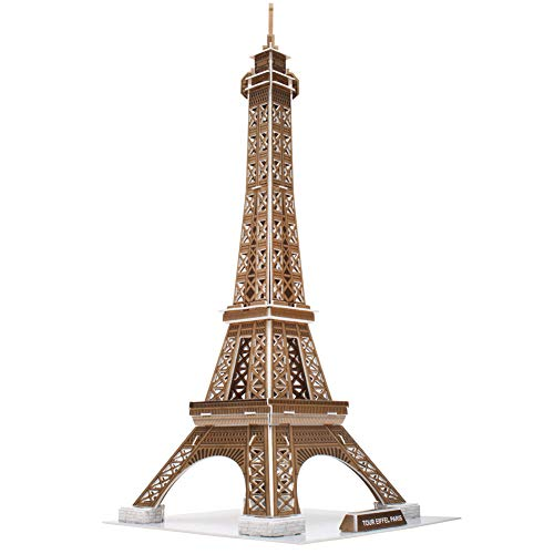 CubicFun 3D Jigsaw Puzzles for Kids Architecture Building Model Paris Eiffel Tower France Landmark Kit Souvenir Gifts and Decoration for Adults and Kids 39 Pieces