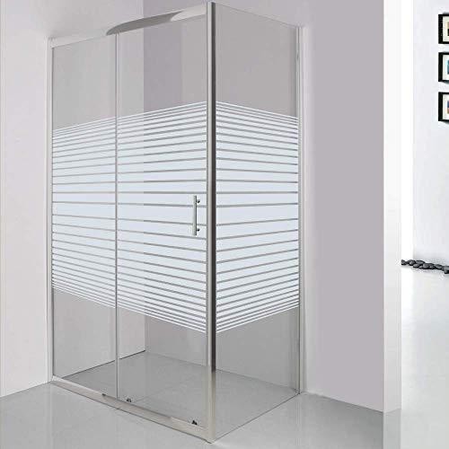 ZIK Box Doccia 70x140, Cabina Bagno in Vetro Serigrafato e Trasparente, Profili in Alluminio Anodizzato