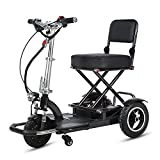 YF-Mirror Heavy-Duty Electric Mobility Scooters for Adults - 3-Wheel Mobility Scooter - Folding, Collapsible and Compact for Travel - Blue
