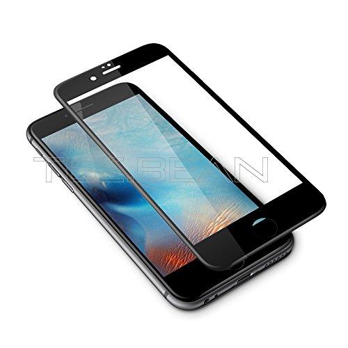 TEC.BEAN Protezione display in vetro temperato 3D per Iphone 6 6s,3D Adattamento alle curvature,vetro 100%,vetro temperato 0,15MM,9H, azzeramento HD [compatibile con touch screen 3D]-Nero