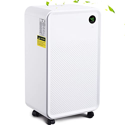 LUKO 3000Sq.Ft Ultra Quiet Dehumidifiers for Basements Removes Home Moisture to 20% with Continuously Drain Hose & Water Tank, Dehumidifiers for Bedroom,living room,One Key Operation with Dry Clothes Mode