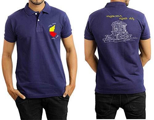 Kannada T Shirts Printed Namma Naadu Namma Bhashe Navy Blue (Cotton, XL)