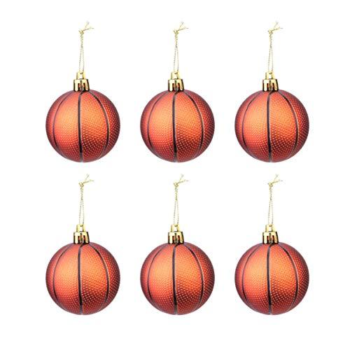 STOBOK 6 stücke Weihnachten Sport Ball Ornament Weihnachtsbaum hängende Kugeln Urlaub Party Decor Sport Fans Geschenk (Basketball)