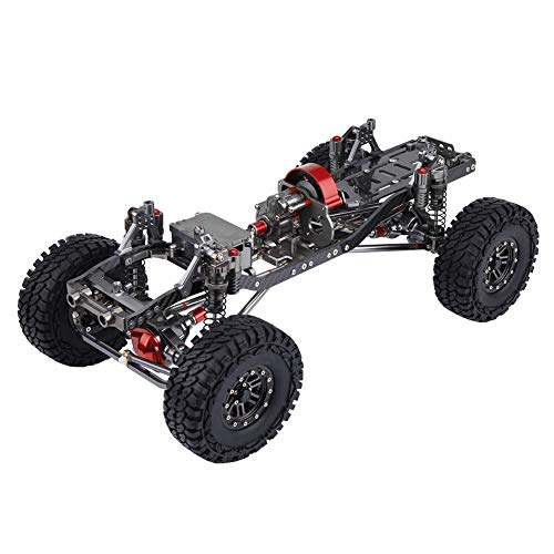 RC Car Frame Kit, Aluminiumlegierung Kohlefaser CNC RC Rock Crawler Truck Rahmen Chassis 313mm mit 12mm LED Lichtbefestigung, Geeignet für Wildboar, Wrangler, GrandCherokee, Defender, Toyota, Hilux