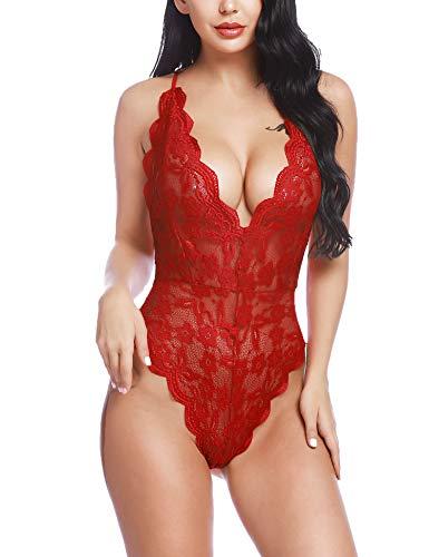 BESDEL Damen Einteiliger V-Ausschnitt Babydoll Sexy Lace Teddy Body Chemises Sleepwear Weinrot S