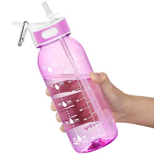 Borraccia Acqua, 1 Litre Bottiglia Acqua con cannuccia e manico, Borraccia Palestra senza BPA, borraccia con indicatore di tempo per ricordare l'ora di bere, Ideale per All'aperto, Yoga e Lavoro
