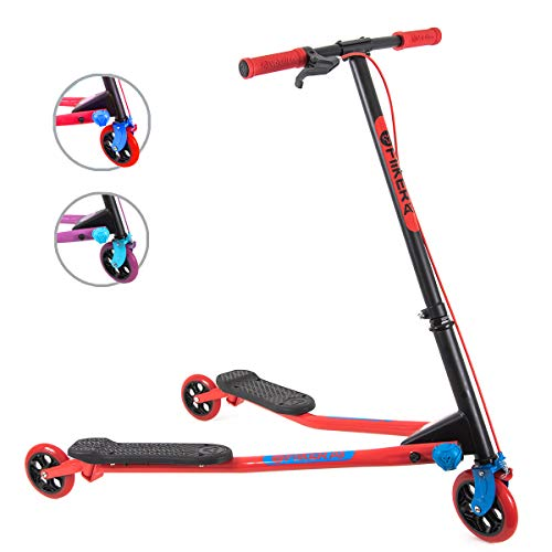 Yvolution Y Fliker Air A3 Kids Drifting Scooter | Swing Scooter for Boys and Girls Age 7+ Years (Red), Medium