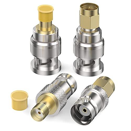 SYUTN 4Pcs Adaptador BNC a SMA, Conectores BNC Macho/Hembra a SMA Macho/Hembra, Adaptador RF para Cables Coaxiales/Cable de Antena/Radio