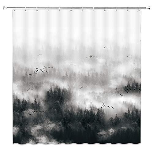 Nebelwald Duschvorhang Weiß Rauch Vogel Berg frisch & magisch Natur Landschaft Badezimmer Dekoration Vorhang Polyester Tuch Gürtel Haken